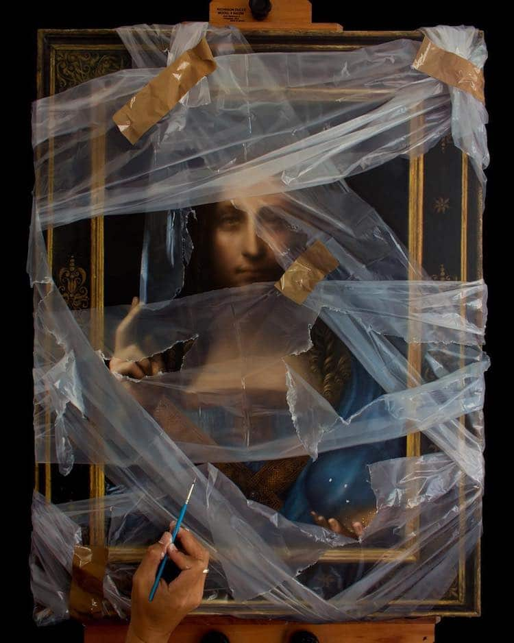 洛杉磯藝術家Robin Eley超寫實「拆封」世界名畫創作!透明塑膠套、膠帶都是畫的_04
