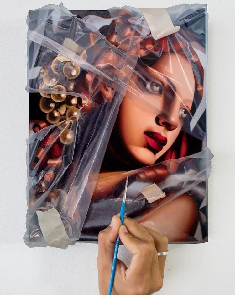 洛杉磯藝術家Robin Eley超寫實「拆封」世界名畫創作!透明塑膠套、膠帶都是畫的_02