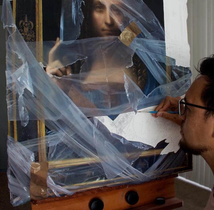 洛杉磯藝術家Robin Eley超寫實「拆封」世界名畫創作!透明塑膠套、膠帶都是畫的_06
