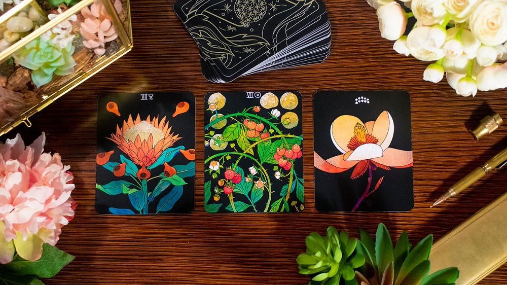 手繪植物版塔羅牌!美國插畫家結合神秘占卜、花語寓意和哲學的絕美塔羅牌